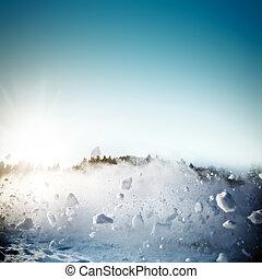 avalanche, em, montanhas., real, close-up, fotografia