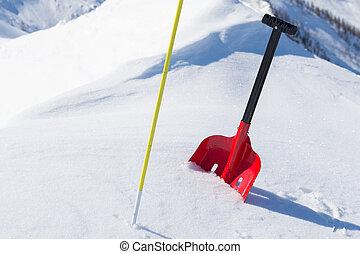 avalanche, engrenagem segurança, em, neve