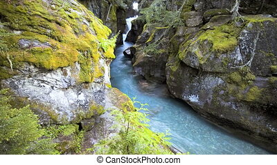 Avalanche Gorge, Time Lapse - Glacier National Park,...