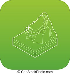 Avalanche icon green vector isolated on white background