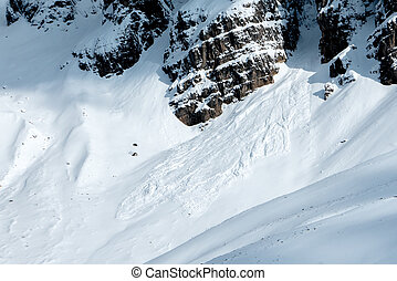 Avalanche in high mountains