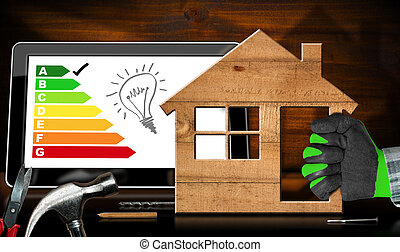 avaliação, casa madeira, energia, eficiência, modelo