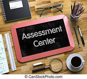 avaliação, centro, conceito, ligado, pequeno, chalkboard., 3d.