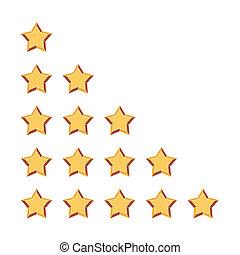 avaliação, cinco, estrelas
