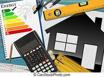 avaliação, energia, eficiência, calculadora, casa