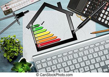 avaliação, energia, eficiência, modelo, casa