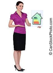 avaliação, energia, mulher segura, cartão