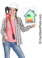 avaliação, energia, mulher, sinal