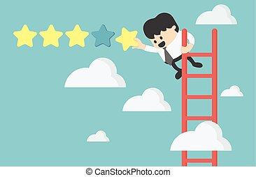 avaliação, estrela, dando cinco, segurando, homem negócios