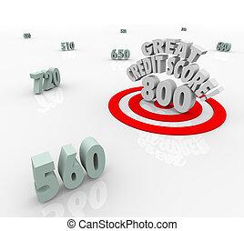 avaliação, grande, alvo, empréstimo, empréstimo, alto, crédito, contagem, números
