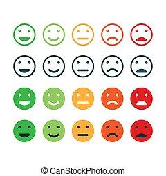 avaliação, icon., jogo, realimentação, satisfaction.