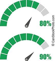 avaliação, jogo, 80, cento, medidor, elemento, infographic, medida, sinais, 90, velocímetro, ou