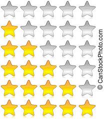 avaliação, levantamento, estrelas