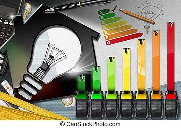 avaliação, luz, energia, -, eficiência, casa, bulbo