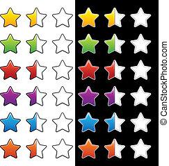 avaliação, metade, vetorial, estrelas, em branco, inteiro