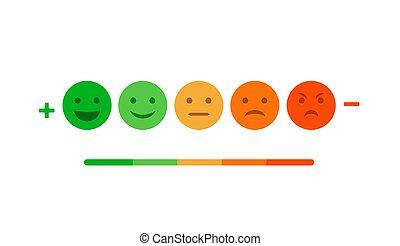 avaliação, realimentação, escala, isolado, emoticon,...