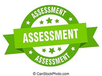 avaliação, redondo, label., fita, sinal, isolado