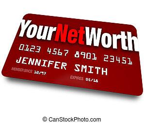 avaliação, valor, seu, crédito, rede, dívida, valor, cartão