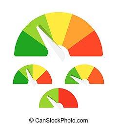 avaliação, velocímetro, ou, medidor, sinais