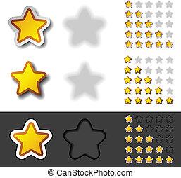 avaliação, vetorial, amarela, estrelas