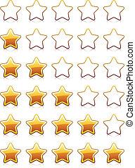 avaliação, vetorial, estrelas