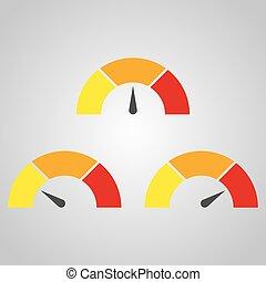 avaliação, vetorial, ilustração, infographic, medida, medidor, sinais, velocímetro, ou, element.