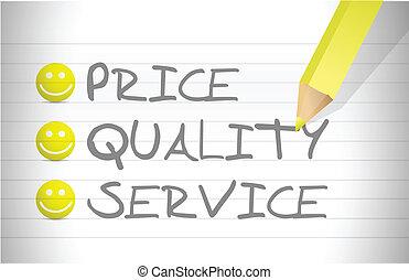avaliar, preço, qualidade, e, serviço