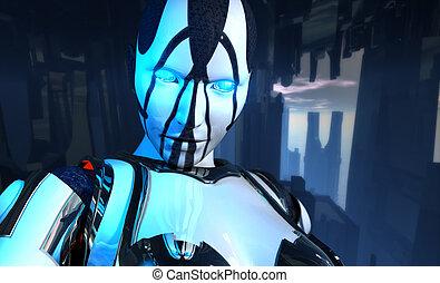 avançado, cyborg, soldado