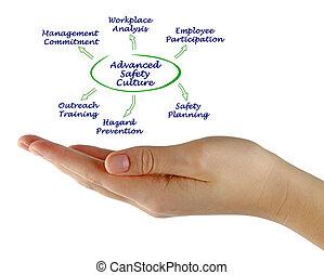 avancé, culture, diagramme, sécurité