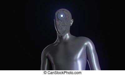 avancé, cyborg, ai., stylisé, androïde, hautement, render, ...