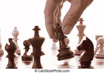 avances, jeu, reine, noir, échecs