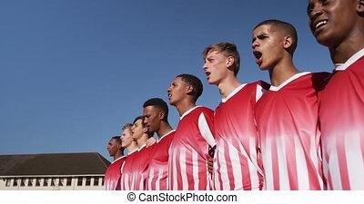 avant, allumette, joueurs, rugby, chant
