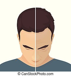 avant, après, traitement, beauté, homme