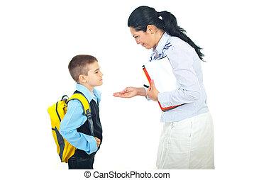 avant, conversation, école, mère, fils
