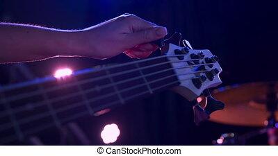 avant, femme, accord, musicien, guitare, concert, elle
