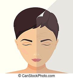 avant, femme, traitement, beauté, après
