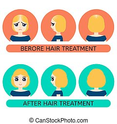 avant, femme, traitement, chauve, après