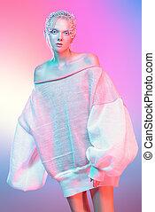 avant-garde female style - Fashion shot of a beautiful ...