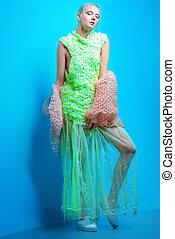 avant-garde female style - Full length fashion portrait of a...
