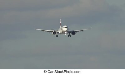 avant, passager, atterrissage, avion