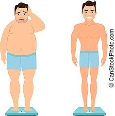 avant, perte, après, poids, homme