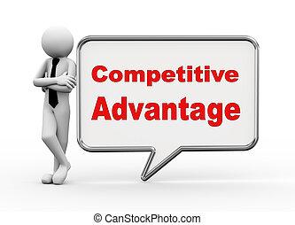 avantage, -, compétitif, parole, homme affaires, bulle, 3d