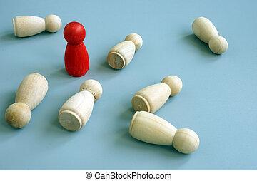 avantage, reussite, concept., concurrence, business, figurine, compétitif, edge., symbole, rouges