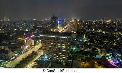 avantage, ville, point, jakarta, défaillance, indonésie, élevé, temps, nuit, vue., jour