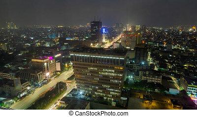 avantage, ville, point, jakarta, défaillance, indonésie, zoom, élevé, temps, nuit, vue, jour