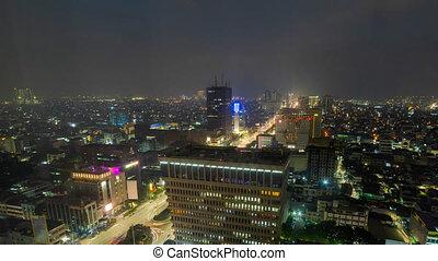 avantage, ville, point, jakarta, défaillance, indonésie, zoom, élevé, temps, nuit, vue, jour dehors