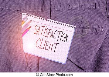 avantages, écriture, satisfaction, achat, trousers., client., papier, obtenir, produits, mot, texte, concept, note, blanc, travail, poche, clients, intérieur, équipement, homme affaires