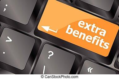 avantages, business, supplémentaire, concept, bouton, -, illustration, vecteur, clavier