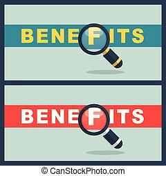 avantages, concept, mot, loupe