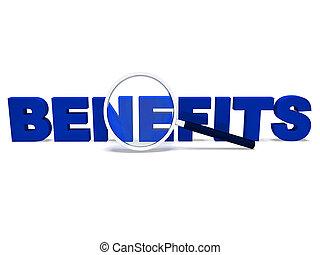 avantages, mot, moyens, petits profits, bonuses, ou,...